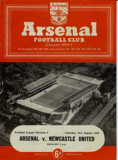 Arsenal v newcastle United on 21 August 1954 - Football Programme