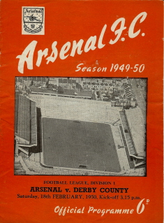 Arsenal v Derby County on 18 February 1950 - Football Programme